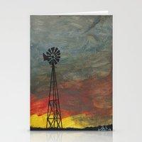 kansas Stationery Cards featuring windmill kansas by BryanCorbinArt