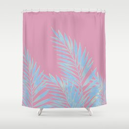Palm Leaves Blue And Pink Shower Curtain