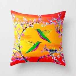Yeloowlow and Orange with Hummingbirds Throw Pillow