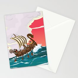 Viking Invasion fleet in the evening sunset Stationery Cards