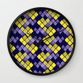 Mozaic pattern in faux gold, yellow, purple and navy indigo Wall Clock