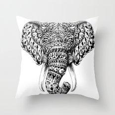 Ornate Elephant Head Throw Pillow