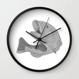 Cutthroat Trout Jumping Drawing Wall Clock