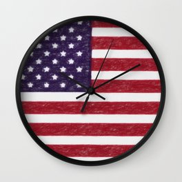 USA flag - in Crayon Wall Clock
