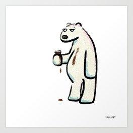 Coffee Polar Bear Art Print