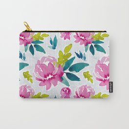 Cameran Watercolor Peonies Carry-All Pouch