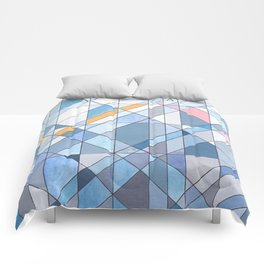 Triangle Pattern no.17 Light Blues Comforters