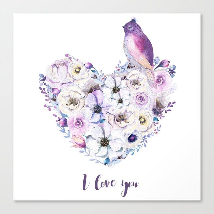 Heart bouquet flowers Canvas Print