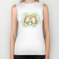 otters Biker Tanks featuring Otters Holding Hands by Georgia Dunn
