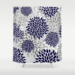 Abstract, Floral Prints, Navy Blue and Grey Shower Curtain
