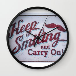 Vintage Effect Keep Smiling and Carry On Wall Clock