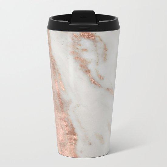 Marble Rose Gold Shimmery Marble Metal Travel Mug