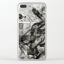 Breaking Loose - Charcoal on Newspaper Figure Drawing Clear iPhone Case