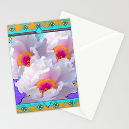 ORNATE & TURQUOISE-PURPLE WHITE PEONIES GARDEN ART Stationery Cards