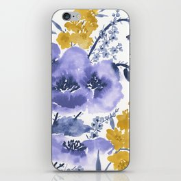 Blue and Yellow Floral #2 iPhone Skin