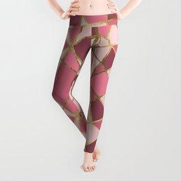 Girly Chic Pink & Burgundy Geo Gold Triangles Leggings