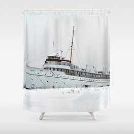 SS Keewatin in Winter White Shower Curtain