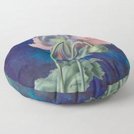French Poppy - Vintage Botanical Illustration Collage Floor Pillow