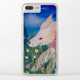 Gorgeous Golden Retriever in flowers in Bandana Clear iPhone Case