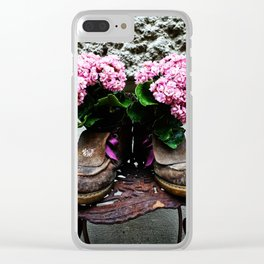 These Boots Are Made For Flowers Clear iPhone Case