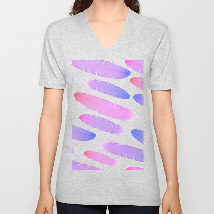 Colorful seamless feather vector pattern Unisex V-Neck