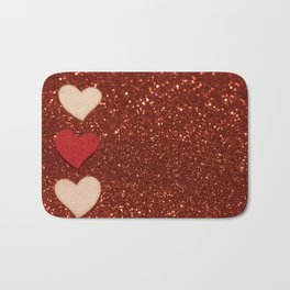 Hearts over red abstract background with bokeh defocused lights Bath Mat