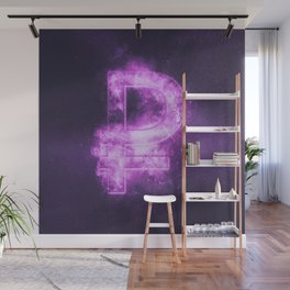 Russian Ruble symbol. Ruble Sign. Monetary currency symbol. Abstract night sky background. Wall Mural