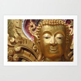 Buddha Head Illustration Design gold Art Print