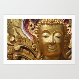 Buddha Head Illustration Design gold Art Print