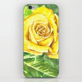 Yellow Rose Watercolor Painting iPhone Skin