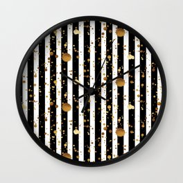 Stripes & Gold Splatter Wall Clock