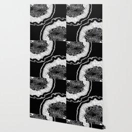 Gray Black White Agate Glitter Glamor #7 #gem #decor #art #society6 Wallpaper