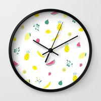 fruits Wall Clocks featuring Fruits by haroulita