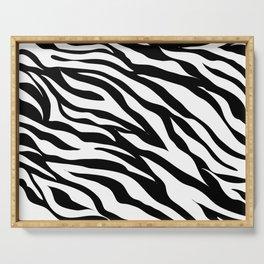 modern safari animal print black and white zebra stripes Serving Tray