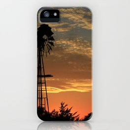 Kansas Golden Sunset with Windmill Silhouette iPhone Case