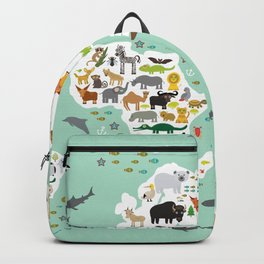 Cartoon animal world map for children, kids, Animals from all over the world, back to school, mint Backpack