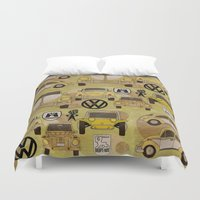 volkswagen Duvet Covers featuring Volkswagen Type 1 Family by Dre Murray