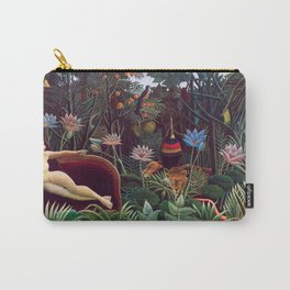 The Dream by Henri Rousseau 1910 // Jungle Lion Flowers Native Female Laying Colorful Landscape Carry-All Pouch