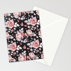 Vintage Pink Rose Flowers Stationery Cards