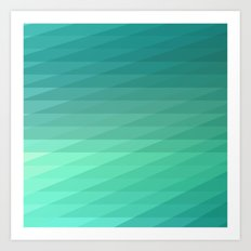 Fig. 043 Mint Green Geometric Diagonal Stripes Art Print