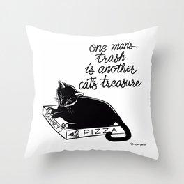 Pizza Box Cat Throw Pillow