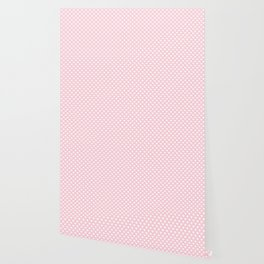 Large White Love Hearts on Soft Pastel Pink Wallpaper