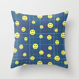Colorful Smiley Emoji 5 - dark blue Throw Pillow