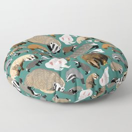 Eurasian badgers pattern teal Floor Pillow