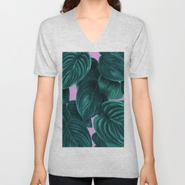 tropical green pattern on pink Unisex V-Neck