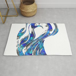 Blue And White Abstract Art - WaveBlue And White Modern Art - Wave 3 - Sharon  3 - Sharon Cummings Rug