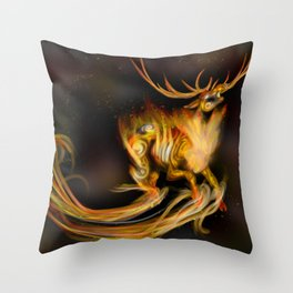 Fire elemental stag Throw Pillow