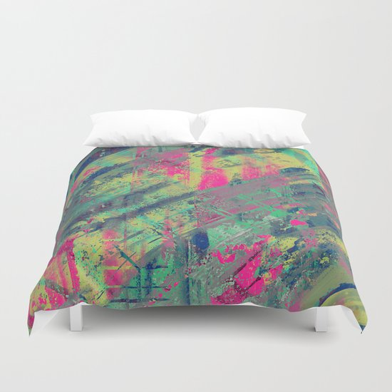 Colour Relaxation - Abstract, textured oil painting Duvet Cover