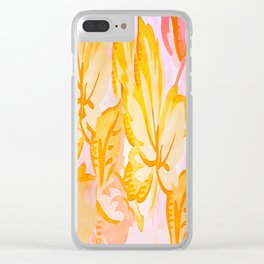 Soft Painterly Pastel Autumn Leaves Clear iPhone Case