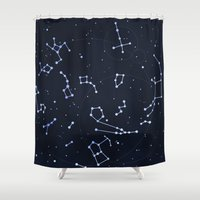 constellations Shower Curtains featuring Constellations by SirLindsay